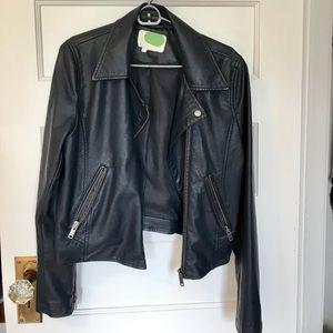Anthropologie Navy Vegan Leather Moto Jacket